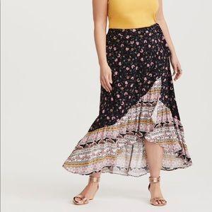 Floral Challis Wrap Skirt